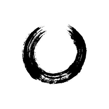 Enso open circle. Buddhist symbol for the never ending journey to be whole. Handmade vector ink painting.