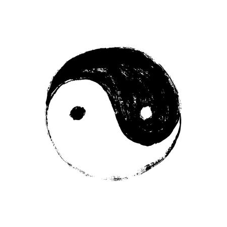 Yin Yang symbol, horizontal. Handmade vector ink painting.