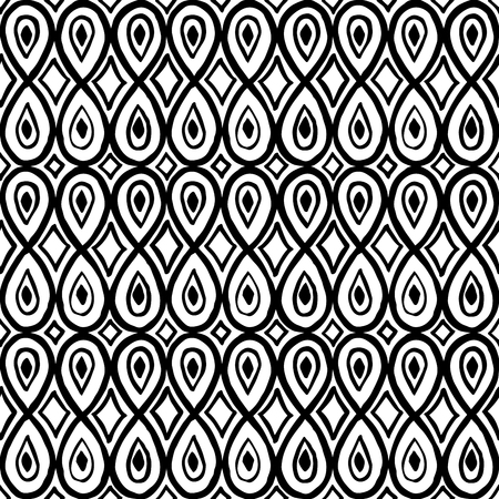 A Seamless woodblock print ornament, ethnic motif with teardrop and rhomboid shapes. Black on white background. Textile print.