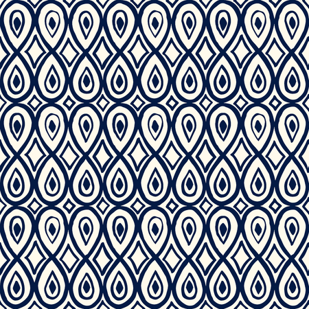 Woodblock print seamless blue ornament, ethnic motif with teardrop and rhomboid shapes. Indigo on ecru background. Textile print.