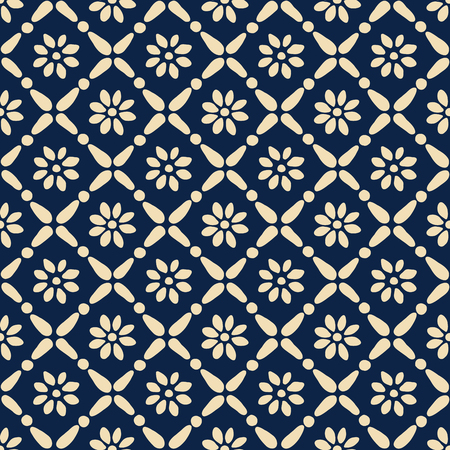 Seamless woodblock printed blue ethnic pattern. Vector geometric floral ornament.
