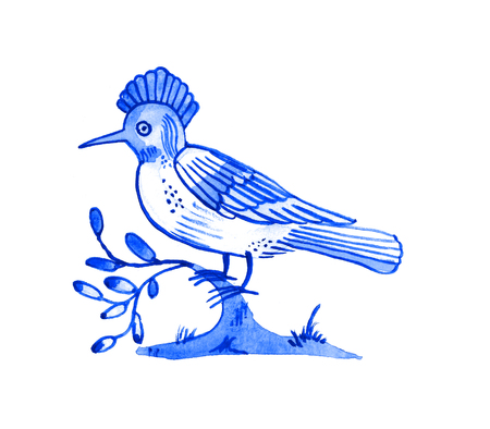Delft blue style watercolour illustration. Traditional Dutch motif with a bird, hoopoe on a tree branch, cobalt on white background. Element for your design.