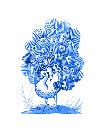Delft blue style watercolour illustration. Traditional Dutch motif with a bird, peacock on a meadow, cobalt on white background. Element for your design. Stock Photo