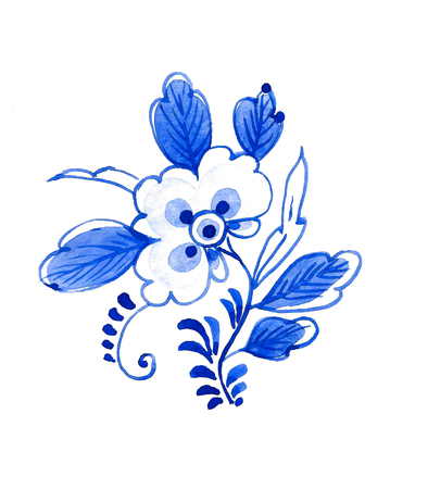 Delft blue style watercolour illustration. Traditional Dutch floral motif, cobalt on white background. Element for your design. Stock Photo