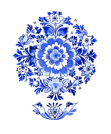 デルフト ブルー スタイルの水彩イラスト。従来のオランダの花モチーフ、円形ロゼット パターン、白地にコバルトの花。あなたのデザインの要素 写真素材