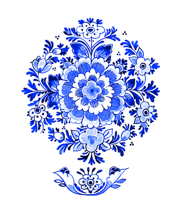 Delft blue style watercolour illustration. Traditional Dutch floral motif, flowers in circular rosette pattern, cobalt on white background. Element for your design.