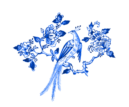 Delft blue style watercolour illustration. Traditional Dutch floral motif, paradise bird on a blossoming tree branch, cobalt on white background. Element for your design. Stock Photo