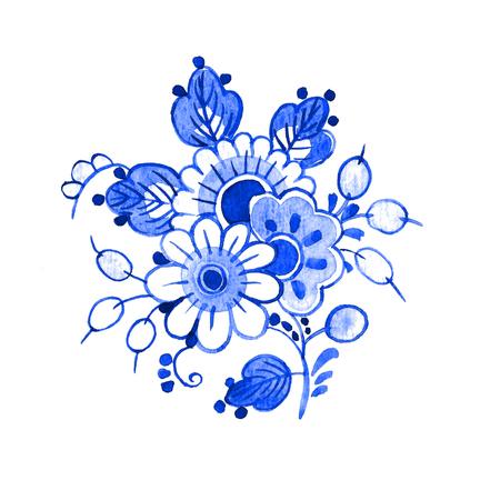 デルフトブルースタイルの水彩画イラスト。伝統的なオランダの花のモチーフ、花の花束、白い背景にコバルト。デザインの要素。