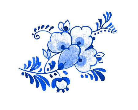 デルフトブルースタイルの水彩画イラスト。伝統的なオランダの花のモチーフ、花や芽、白い背景にコバルト。デザインの要素。
