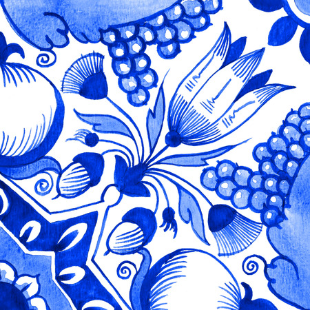 Delft blue style watercolour illustration. Traditional Dutch tile, a floral motif with tulips, pomegranates, grape bunches, acorns and geometric shapes, cobalt on white background. Element for your design.