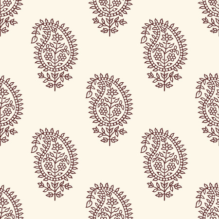 Woodblock printed seamless paisley pattern. Traditional oriental ethnic ornament of India, maroon and gray hues on ecru background. Textile design. Illustration