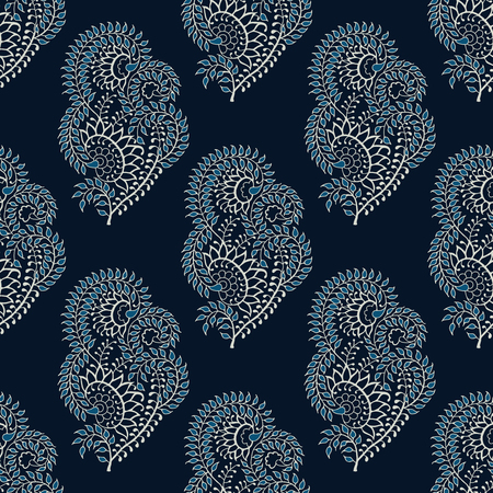 Seamless indigo dye woodblock printed paisley pattern. Traditional oriental ethnic ornament of India, ecru on navy blue background. Textile design.