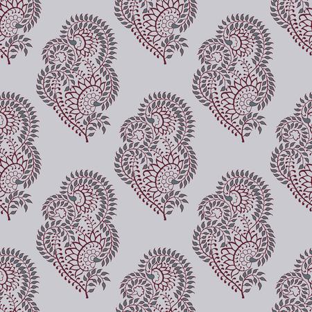 シームレスな木版画プリントペイズリーパターン。インドの伝統的な東洋の民族の装飾品、マルーンと灰色の色合いは、ecruの背景に。テキスタイル  イラスト・ベクター素材