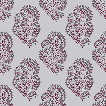 Seamless woodblock printed paisley pattern. Traditional oriental ethnic ornament of India, maroon and gray hues on ecru background. Textile design.