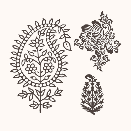 Set of 3 paisley elements. Traditional oriental ethnic ornament of India for your design. Stock Vector - 94780389