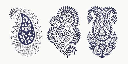 3つのペイズリー要素のセット。インドの伝統的な東洋の民族の装飾、2色。あなたのデザインのために。