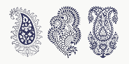 Set of 3 paisley elements. Traditional oriental ethnic ornament of India, 2 colors. For your design.