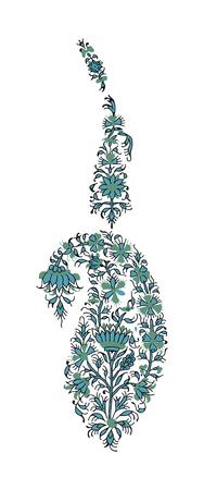 Set of 2 paisley elements. Traditional oriental ethnic ornament of Kashmir, 3 colors textile design.