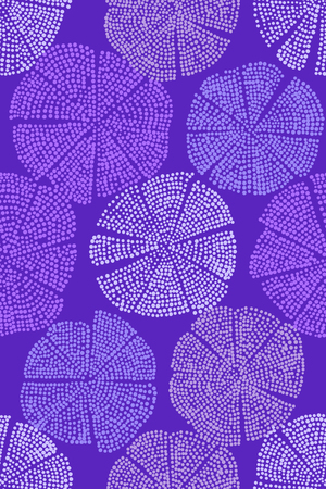 Woodblock printed seamless floral pattern. Handmade Eastern folk motif with abstract dotted circular figures, looks like flowers. Violet shades on purple background. Textile print.