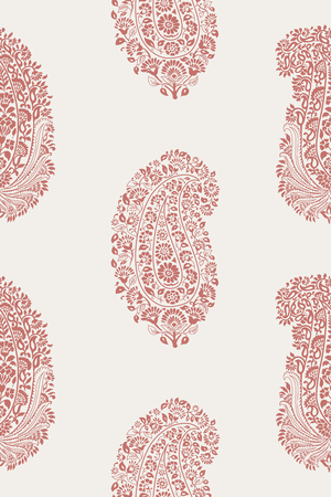 Woodblock printed seamless paisley pattern. Traditional oriental ethnic ornament of India, pink on ecru background. Textile design. Illustration