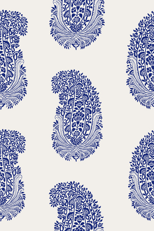 Indigo dye woodblock printed ethnic seamless paisley pattern. Traditional oriental ornament of India, cobalt blue on ecru background. Textile design.