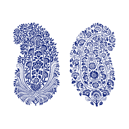 Set of 2 paisley elements. Traditional oriental ethnic ornament of India, monochrome. For your design.  イラスト・ベクター素材