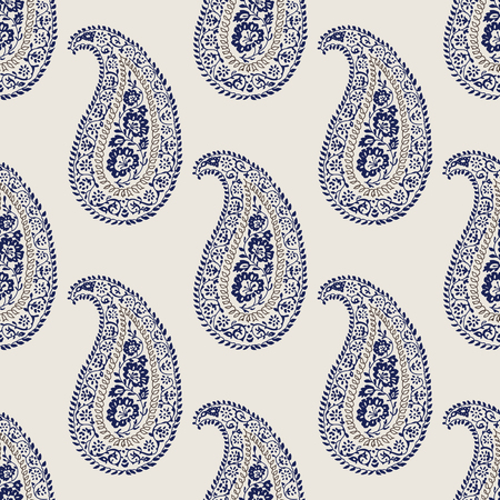 Indigo dye woodblock printed seamless ethnic paisley pattern. Traditional oriental ornament of India, navy blue and taupe on ecru background. Textile design. 矢量图像