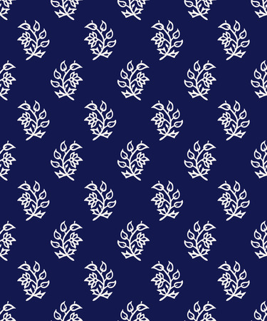 Indigo dye woodblock seamless pattern. Traditional oriental ornament of India, flowers of Kashmir, ecru on navy blue background. Textile design.