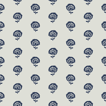 Indigo dye woodblock seamless pattern. Traditional oriental ornament of India, flowers of Kashmir, with dandelions, navy blue on ecru background. Textile design. Ilustração