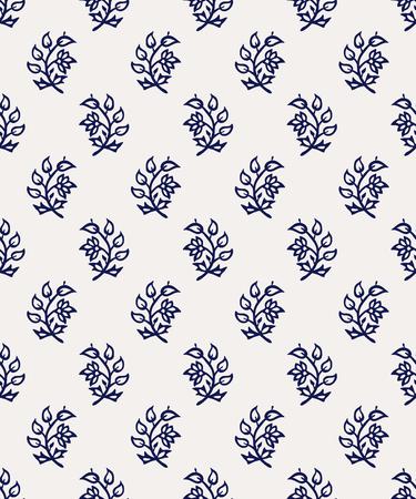 Indigo dye woodblock seamless pattern. Traditional oriental ornament of India, flowers of Kashmir, navy blue on ecru background. Textile design. Ilustração