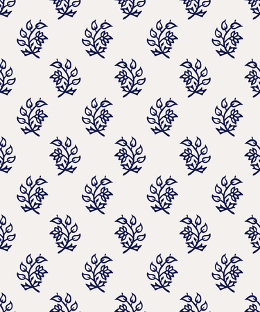 Indigo dye woodblock seamless pattern. Traditional oriental ornament of India, flowers of Kashmir, navy blue on ecru background. Textile design. Stock Illustratie