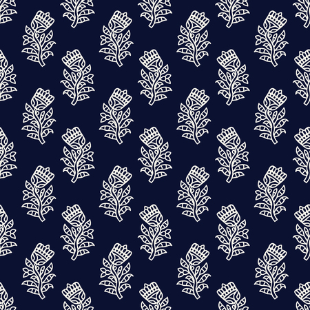 Indigo dye woodblock printed seamless ethnic floral all over pattern. Traditional oriental ornament of India, tulip flowers of Kashmir, ecru on navy blue background. Textile design.
