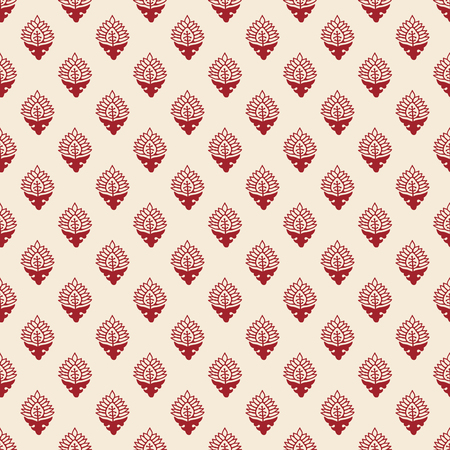 Woodblock printed seamless ethnic floral all over pattern. Traditional oriental ornament of India, elegant flowers of Kashmir, red on ecru background. Textile design.