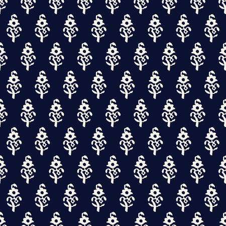 Indigo dye woodblock printed seamless ethnic floral all over pattern. Traditional oriental ornament of India, poppy flowers of Kashmir, ecru on navy blue background. Textile design. Ilustração