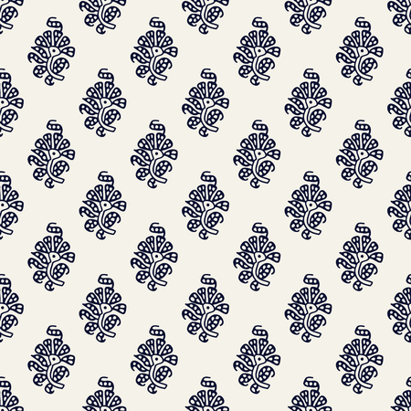 Indigo dye woodblock printed seamless ethnic floral all over pattern. Traditional oriental ornament of India, peony flowers of Kashmir, navy blue on ecru background. Textile design.