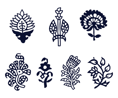 Set of 7 wood block print floral elements. Traditional oriental ethnic motifs of India Kashmir for your design.  イラスト・ベクター素材