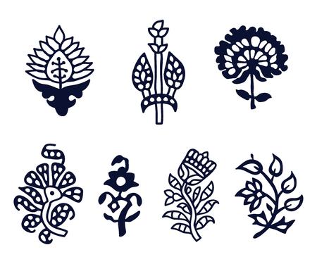 Set of 7 wood block print floral elements. Traditional oriental ethnic motifs of India Kashmir for your design. Illustration