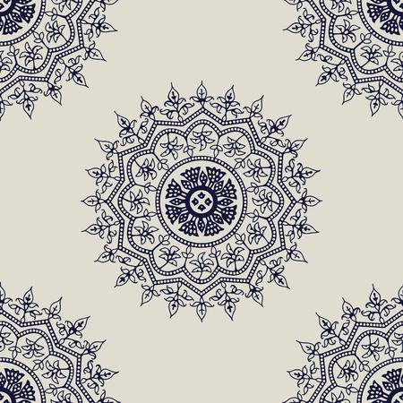Indigo dye woodblock printed seamless ethnic floral mandala pattern. Traditional oriental ornament of India, Kashmir flowers, navy blue on ecru background. Textile design.  イラスト・ベクター素材