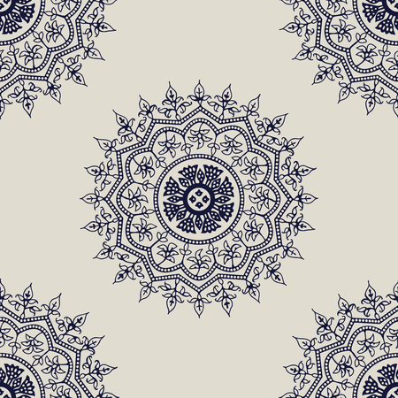 Indigo dye woodblock printed seamless ethnic floral mandala pattern. Traditional oriental ornament of India, Kashmir flowers, navy blue on ecru background. Textile design. Vettoriali