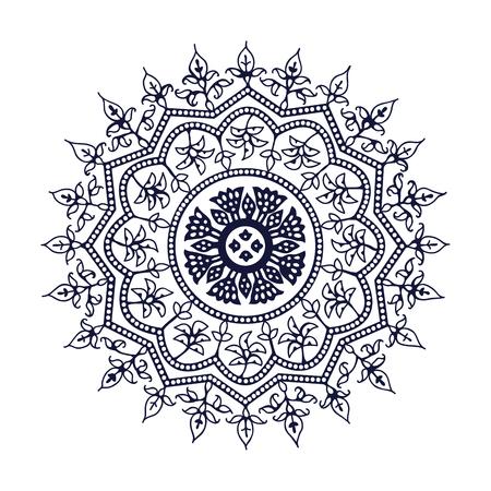 Mandala block print floral element. Traditional oriental ethnic motif of India Kashmir, monochrome.