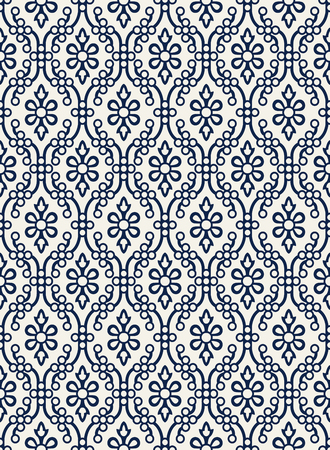 Indigo dye woodblock printed seamless ethnic floral damask pattern.