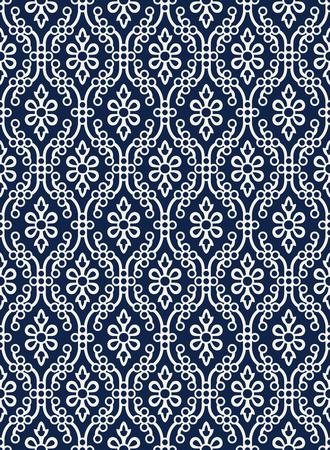 Indigo dye woodblock printed seamless ethnic floral damask pattern. Traditional oriental ornament of India Kashmir,  geometric flowers and ogee molding, ecru on navy blue background. Textile design. Ilustração