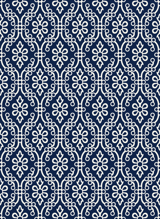Indigo dye woodblock printed seamless ethnic floral damask pattern. Traditional oriental ornament of India Kashmir,  geometric flowers and ogee molding, ecru on navy blue background. Textile design. Illustration
