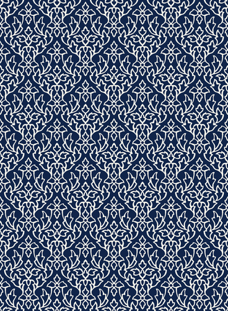 Woodblock printed indigo dye seamless ethnic floral damask pattern. Traditional oriental ornament of India Kashmir, geometric leaves and flowers ogee, ecru on navy blue background. Textile design.  イラスト・ベクター素材