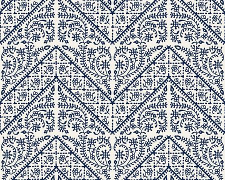 Woodblock printed indigo dye seamless ethnic geometric pattern.