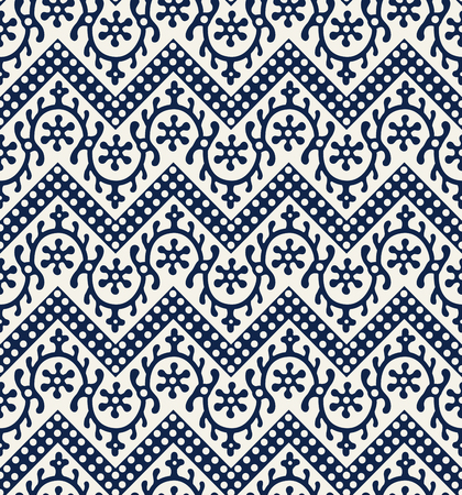 Woodblock printed indigo dye seamless ethnic floral geometric pattern. Traditional oriental ornament of India Kashmir, loach with chevron motif, ecru on navy blue background. Textile design.