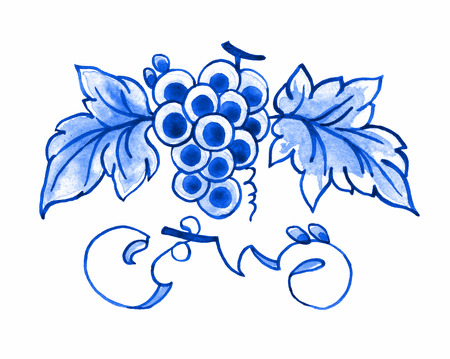 Delft blue style watercolour illustration. Traditional Dutch floral motif, bunch of grapes with leaves and vines, cobalt on white background. Element for your design. Stock Photo