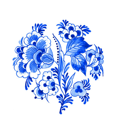 Delft blue style watercolour illustration. Traditional Dutch floral motif, branch of beautiful peony flowers, cobalt on white background. Element for your design. Standard-Bild - 100220590