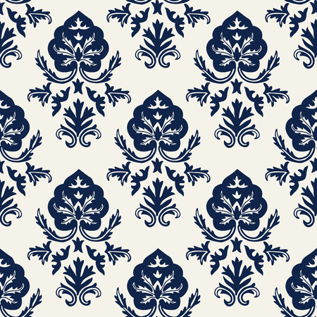 Indigo dye woodblock printed seamless ethnic damask pattern. Traditional oriental ornament of Kashmir India, stylized acanthus leaves, navy blue on ecru background. Textile design.