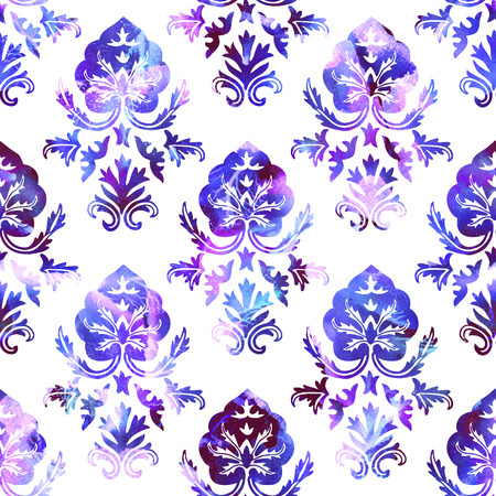Watercolor seamless ethnic floral damask pattern. Traditional oriental ornament of  Kashmir India, stylized acanthus leaves, shades of violet on white background. Textile design.